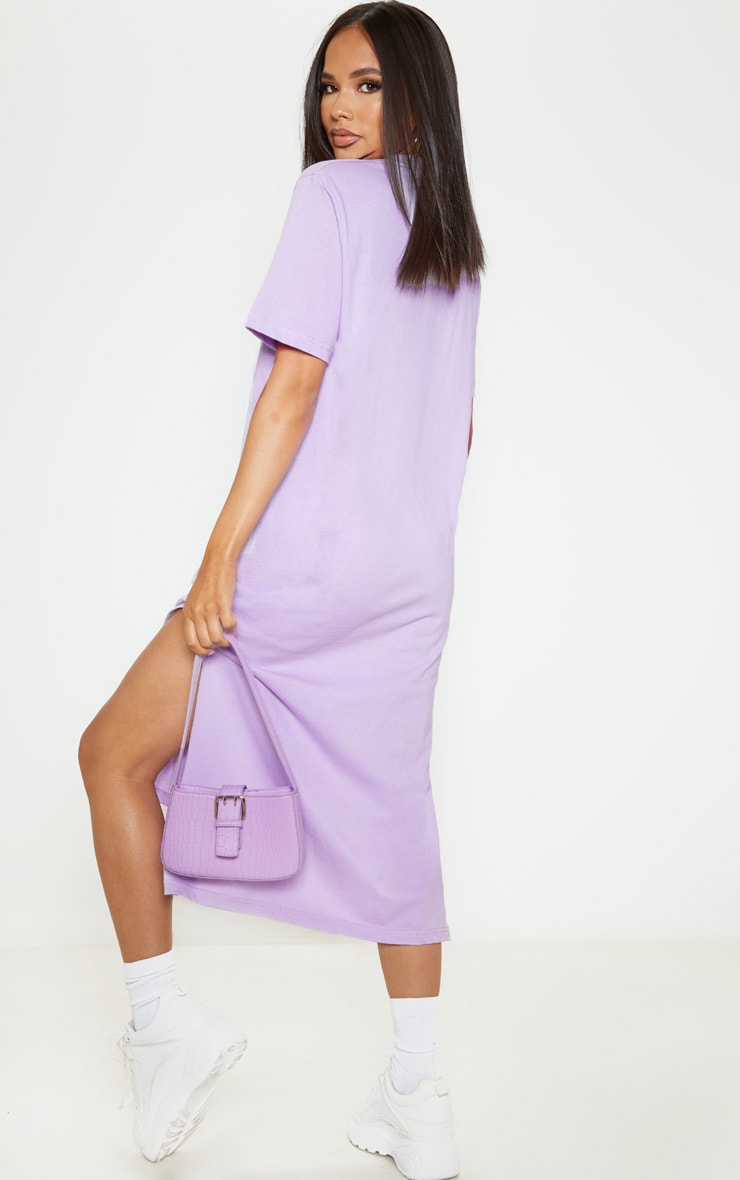 Lilac Split Side Midi T Shirt Dress 2
