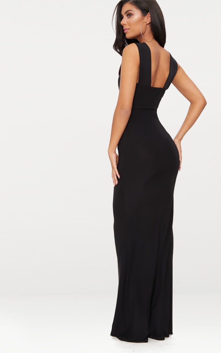 Black Cross Strap Cut Out Ring Detail Maxi Dress  2