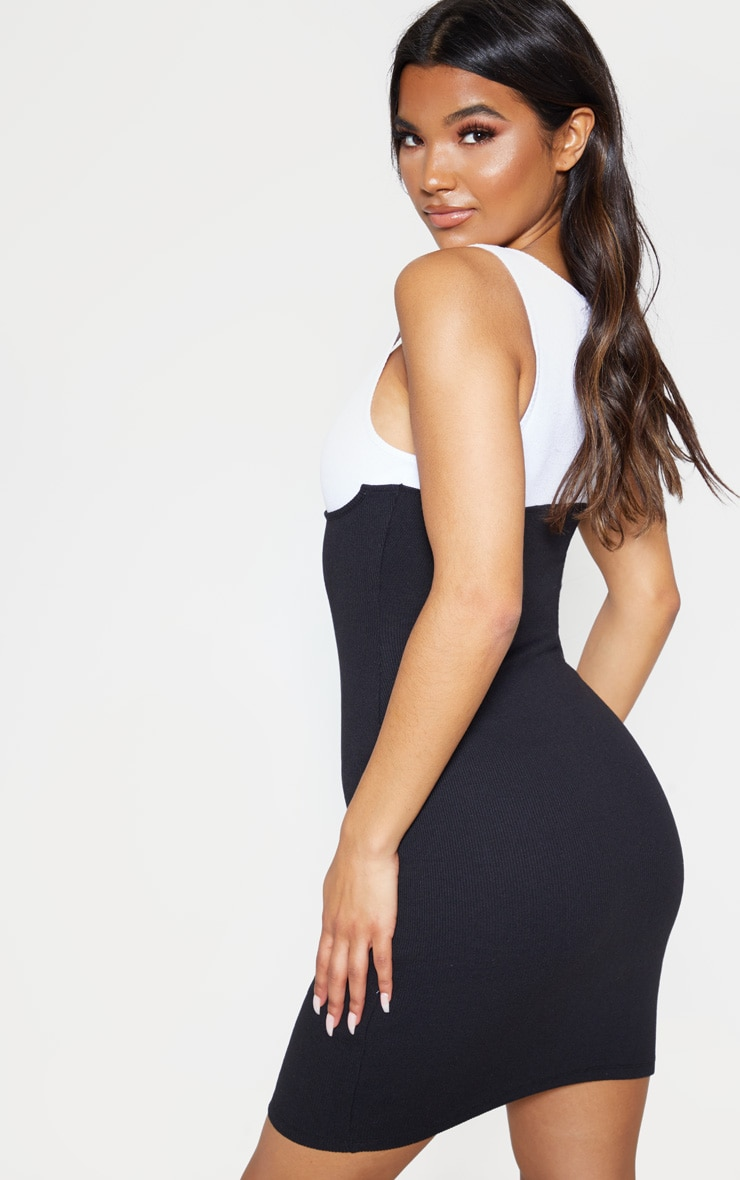 Black Cup Detail Contrast Ribbed Bodycon Dress 2