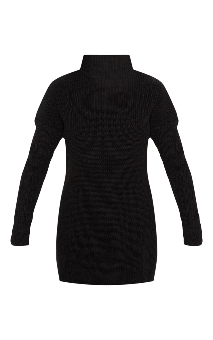 Black High Neck Knitted Side Split Sweater 3
