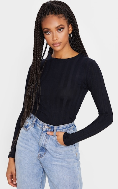 Black Wide Knitted Rib Fitted Top