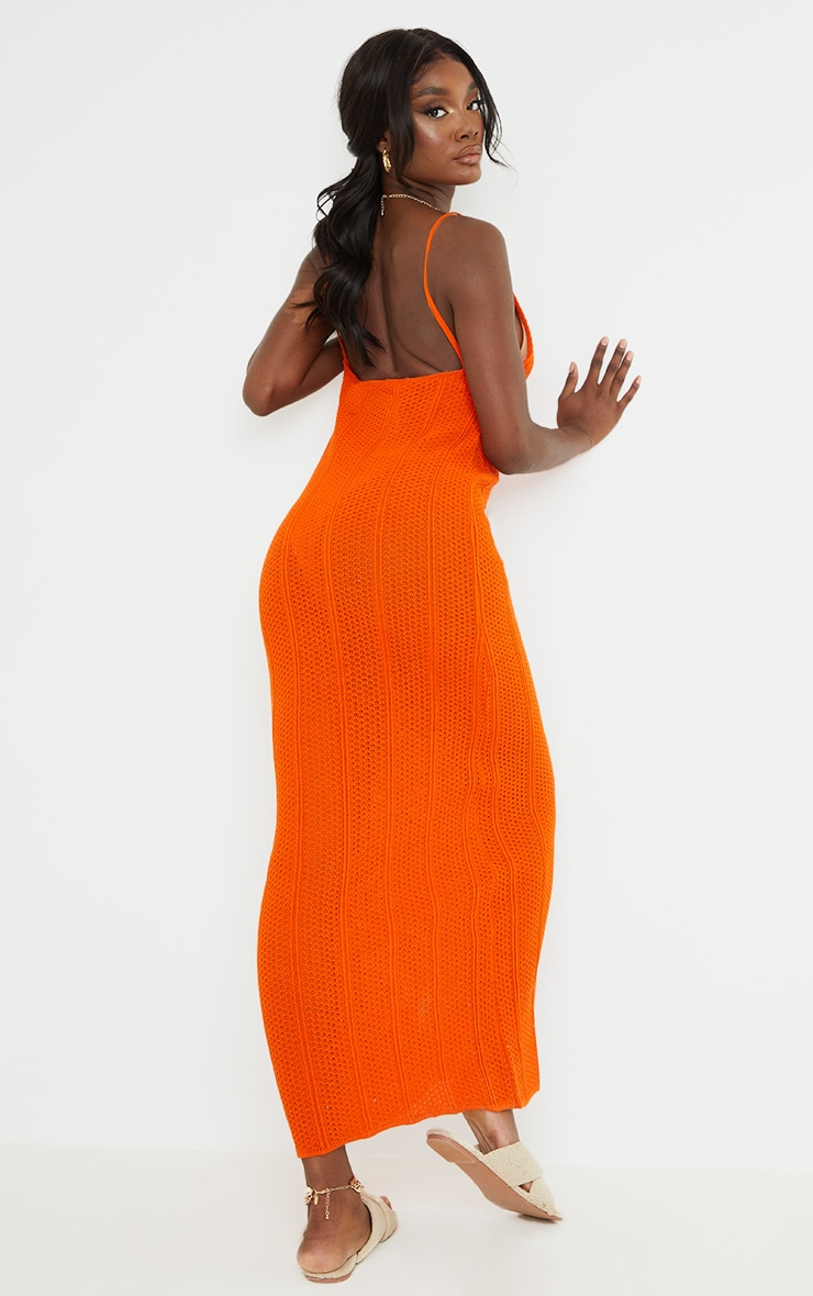 Tall Rust Knitted Low Back Extreme Side Split Maxi Dress 2