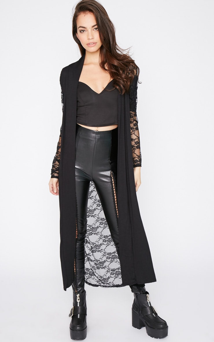 Roxie Black Long Length Kimono  1