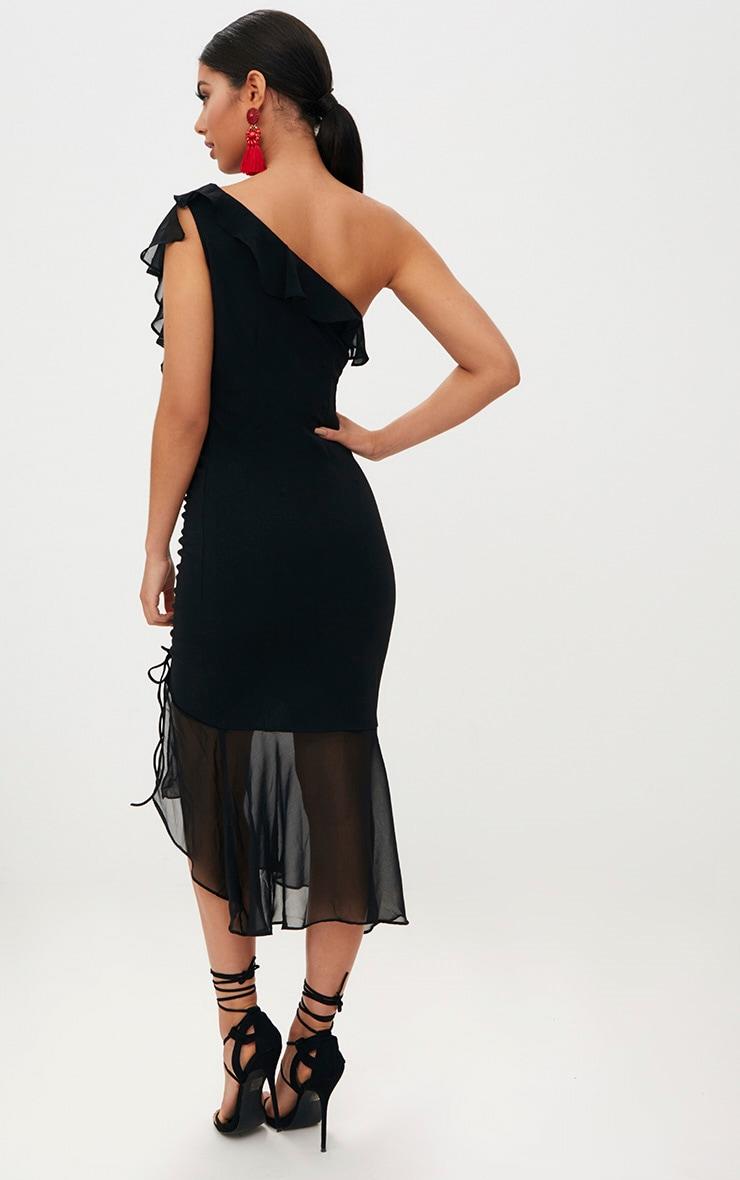 Black Ruched Detail Frill One Shoulder Midi Dress 2