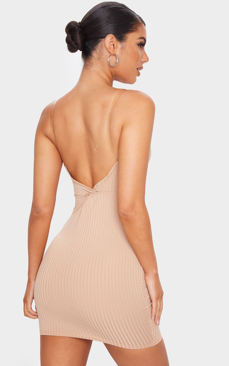 Stone Clear Strap Ribbed Scoop Back Bodycon Dress 2