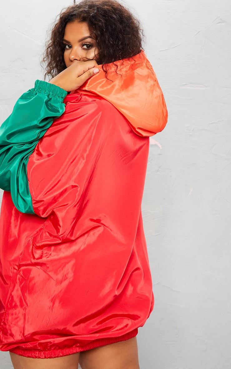 KARL KANI Red Colour Block Oversized Shell Dress 5