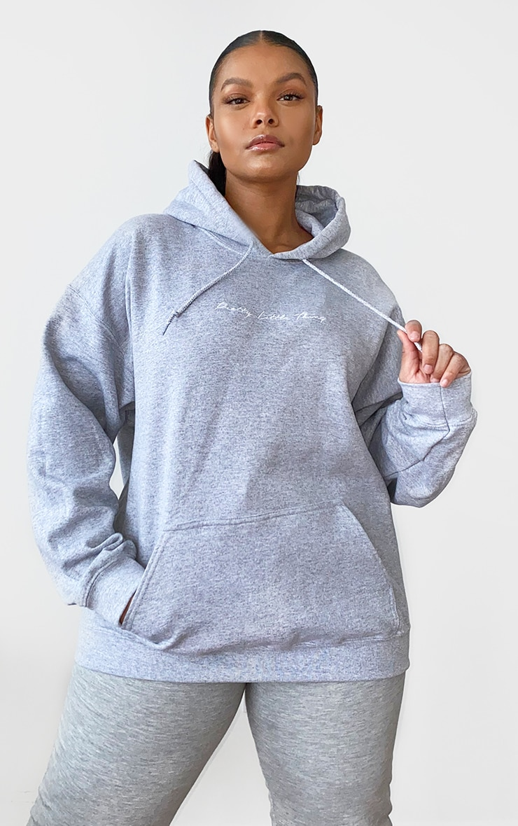 PRETTYLITTLETHING Plus Grey Marl Embroidered Oversized Hoodie 1