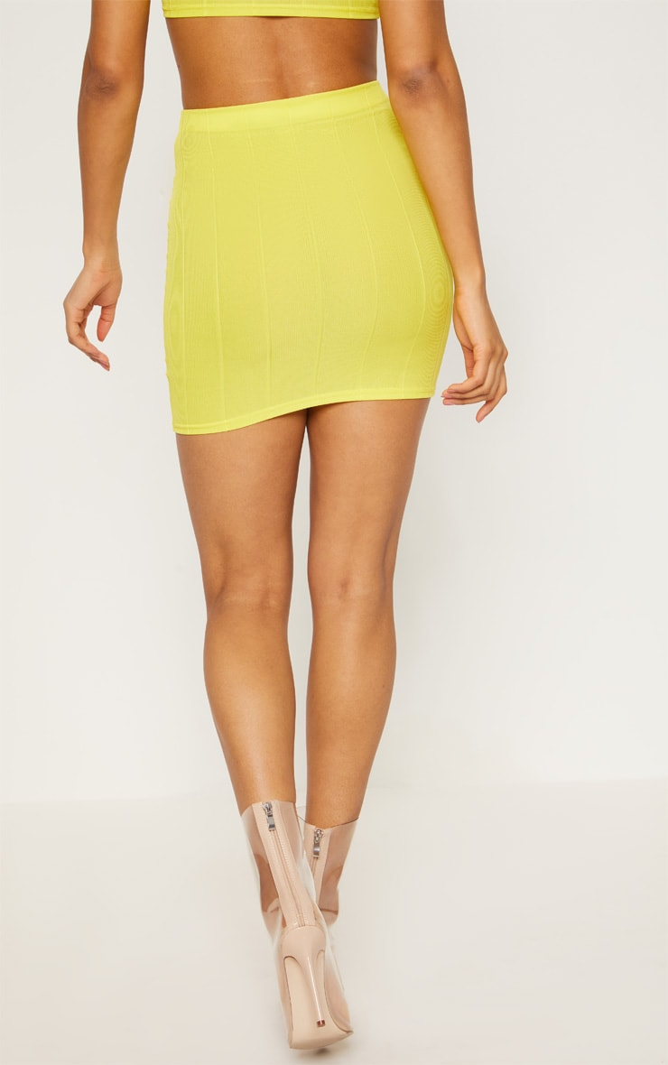 Yellow Bandage Mini Skirt  4