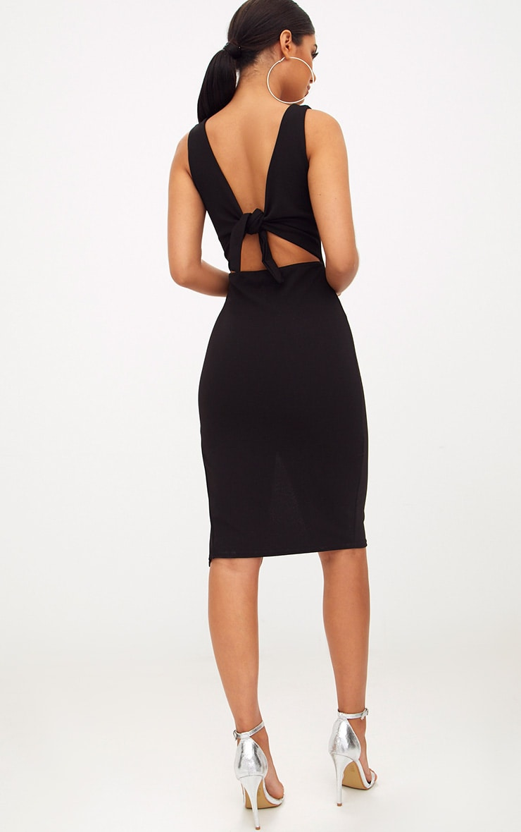 Black Tie Back Scoop Neck Midi Dress Prettylittlething