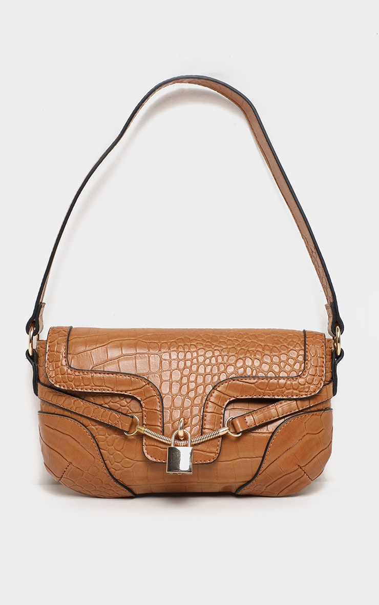 Tan Croc Panel Padlock Shoulder Bag 1