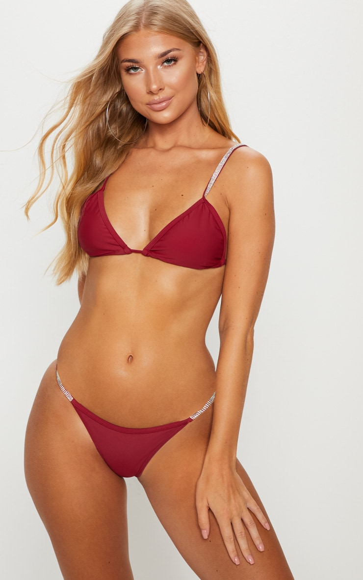 Burgundy Diamante Strap Bikini Bottom 5