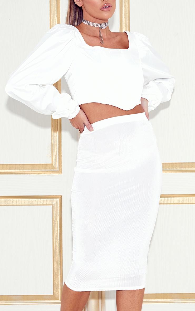 White Velvet Midi Skirt  6