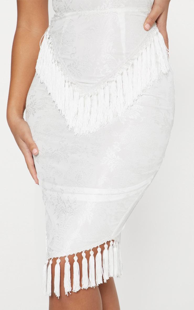 White Lace Tassel Trim Plunge Midi Dress 5