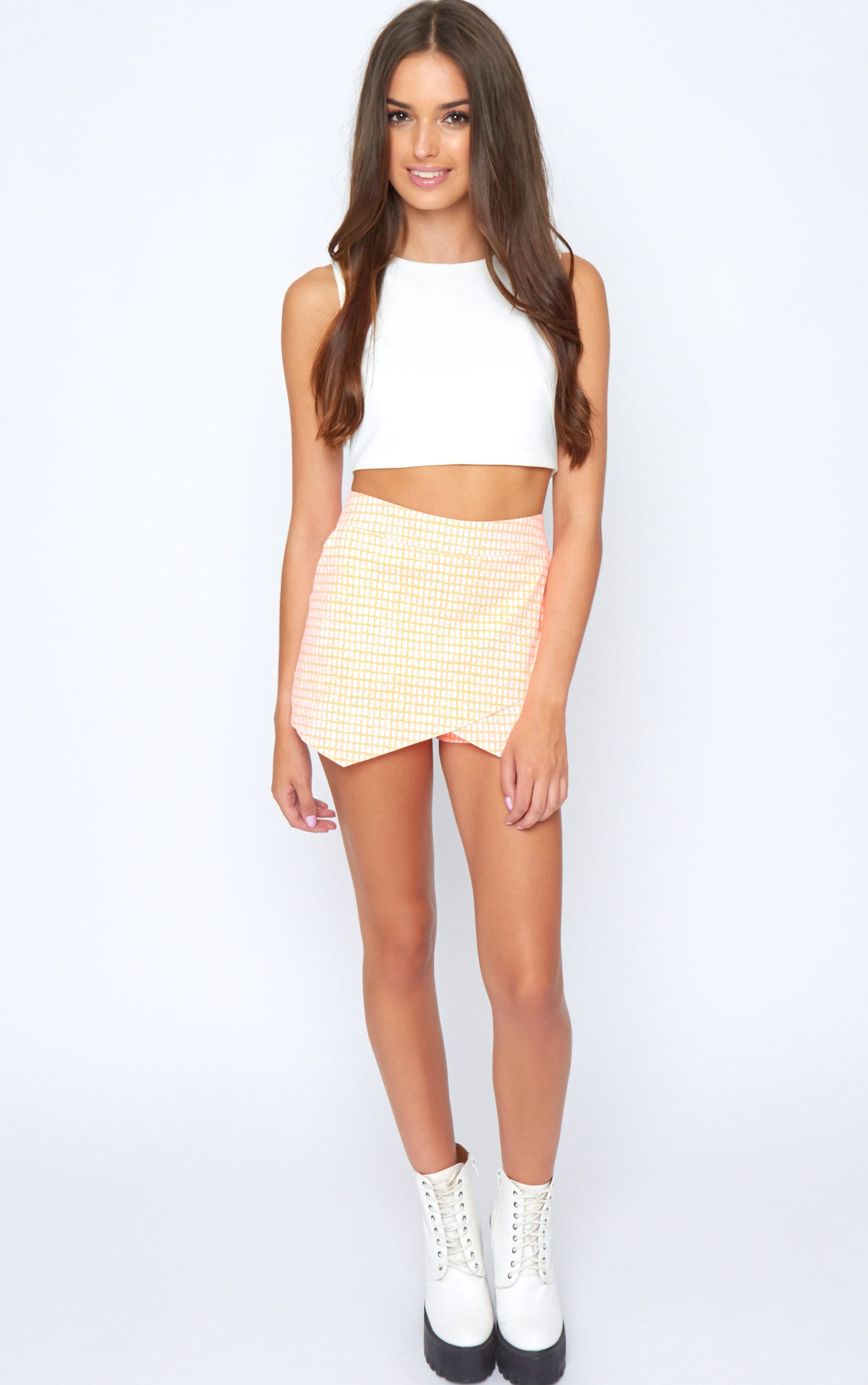 Mimi Orange Abstract Check Skort 3