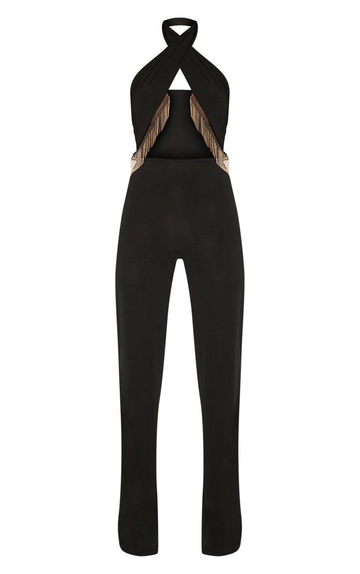 Black Gold Tassel trim Jumpsuit 3
