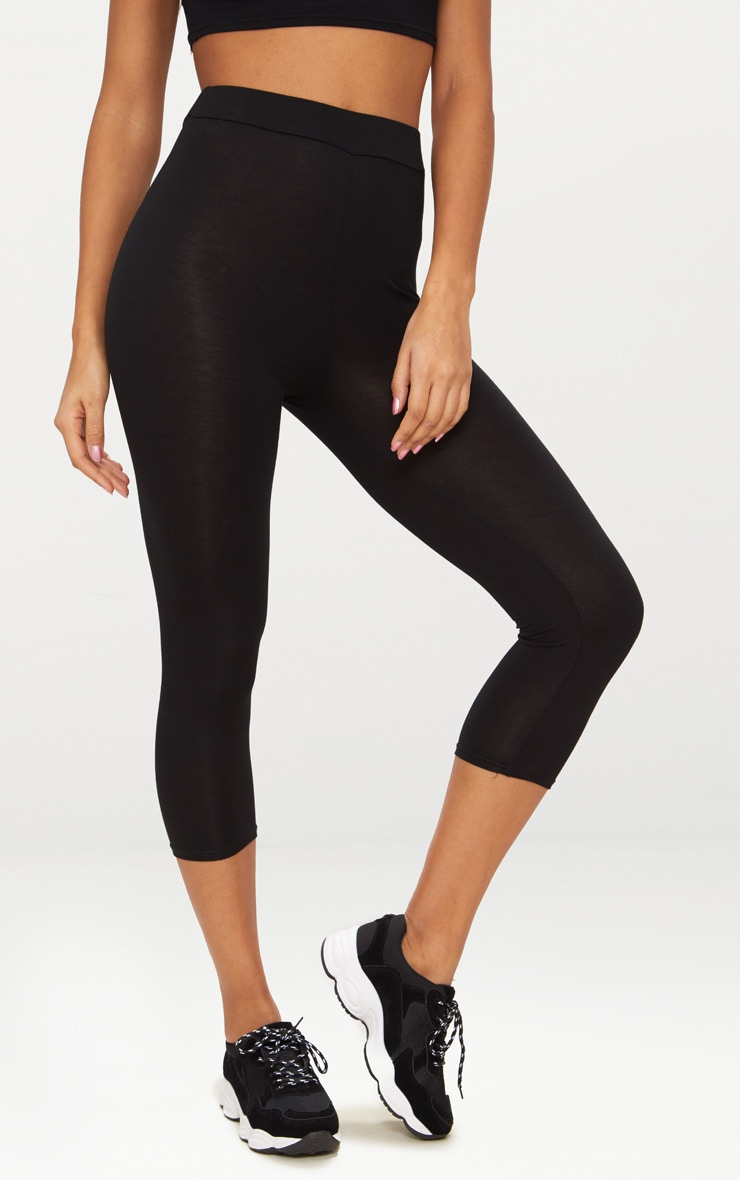 Basic Black Cropped Jersey Leggings 2