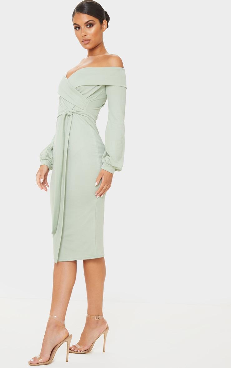 Sage Khaki Long Sleeve Wrap Bardot Midi Dress 4