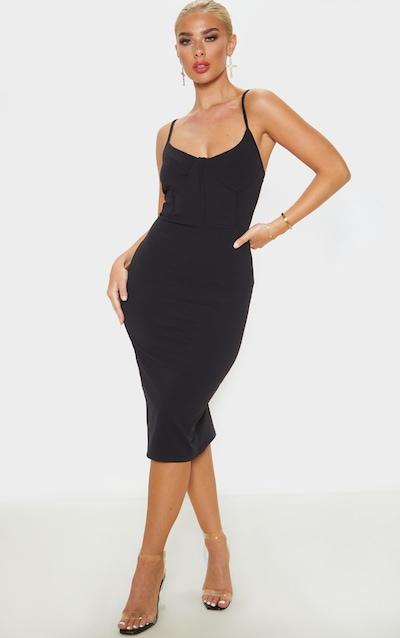 Black Strappy Binding Bodice Detail Midi Dress