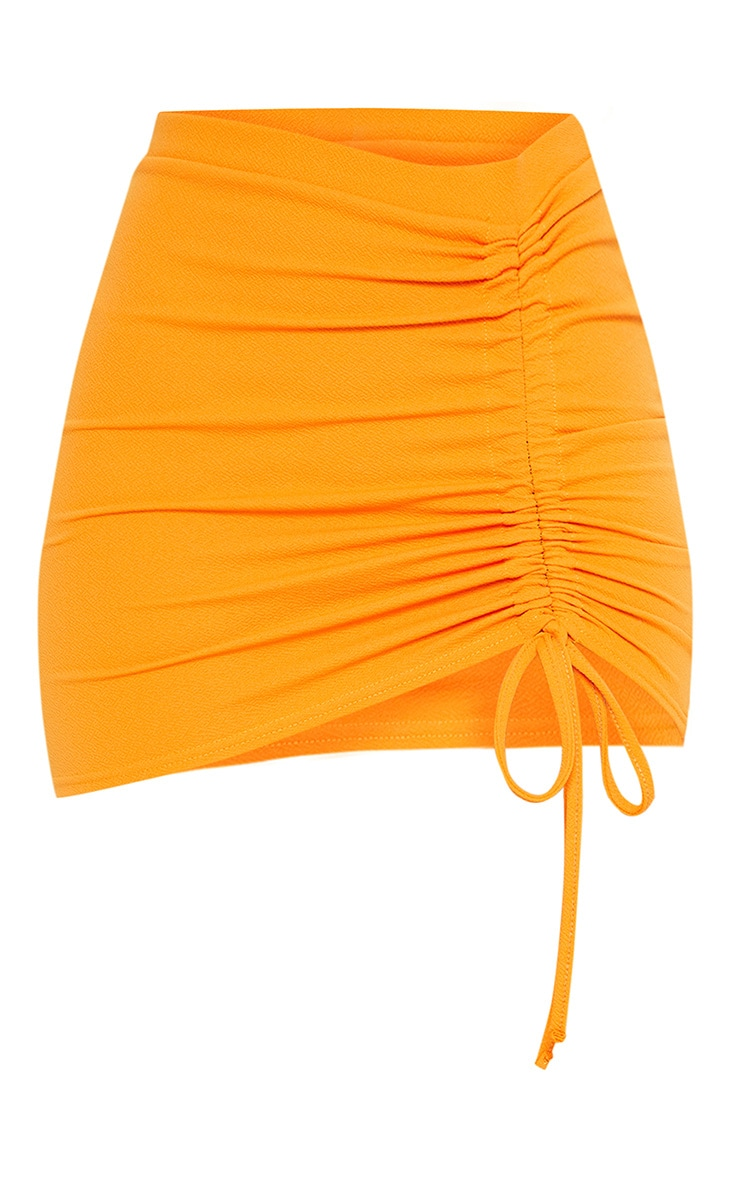 Hot Orange Ruche Detail Mini Skirt 3