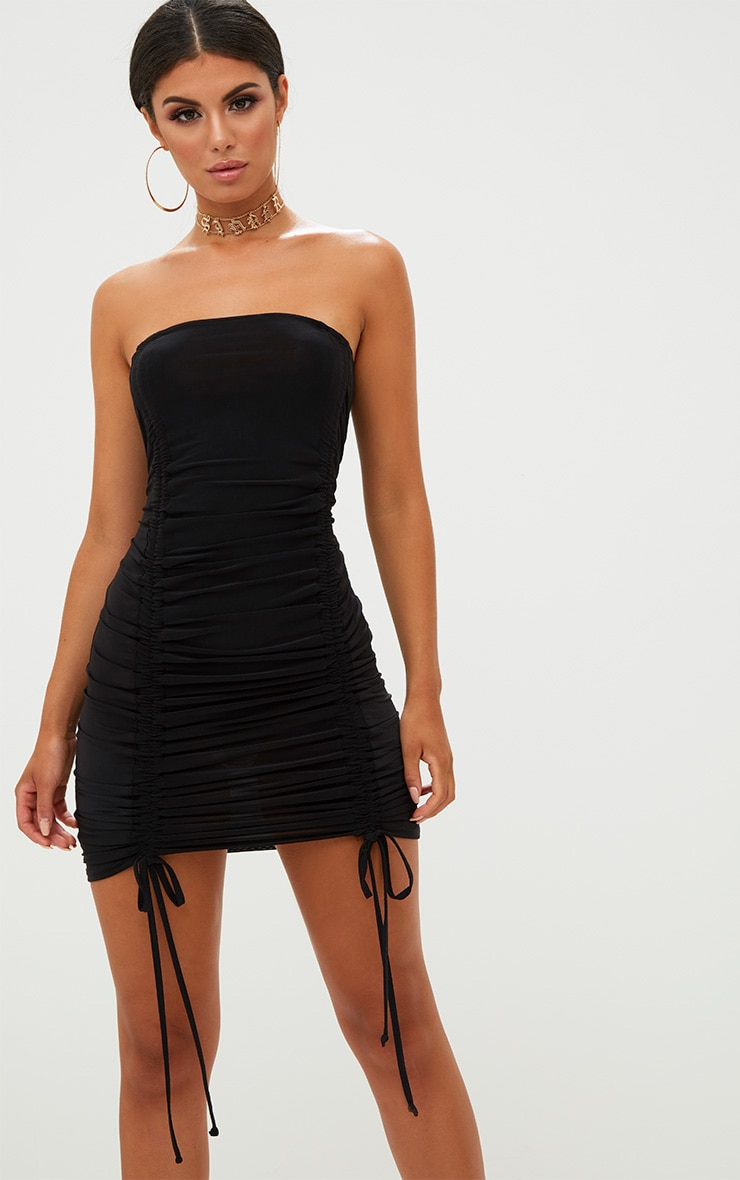 Black Bandeau Ruched Slinky Bodycon Dress 1