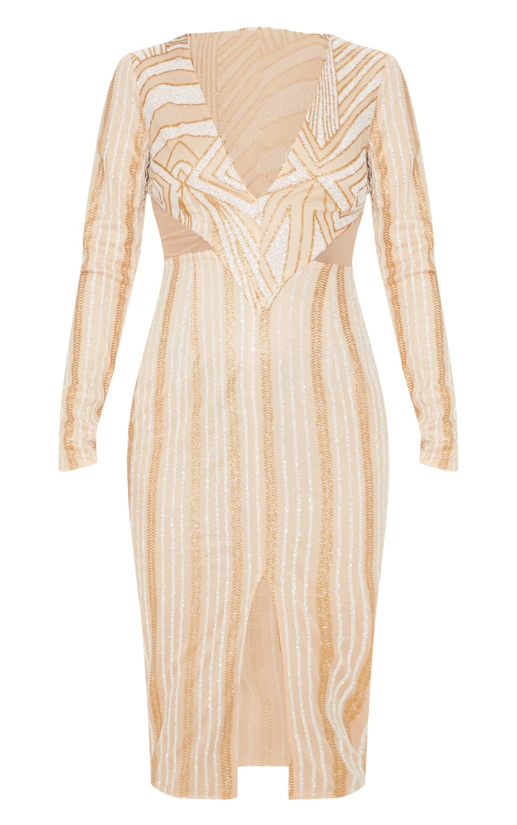 Gold Glitter Plunge Mesh Insert Midi Dress 3