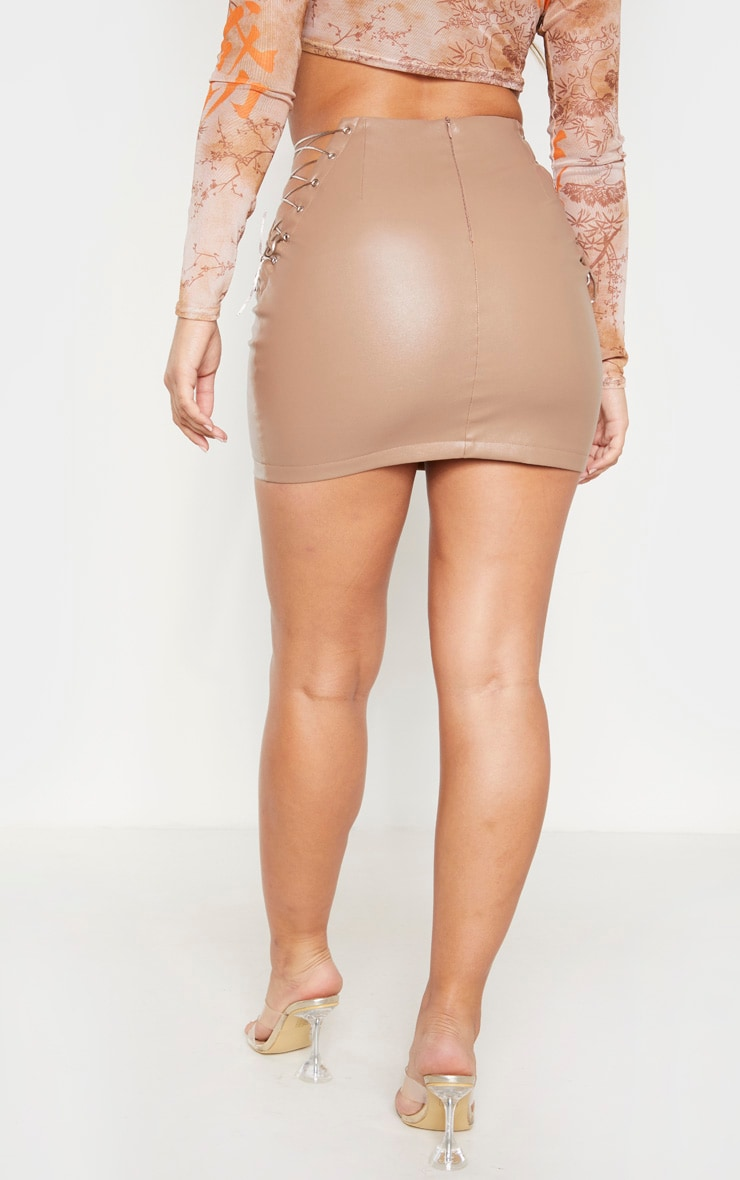 Stone Faux Leather Lace Up Side Mini Skirt 4