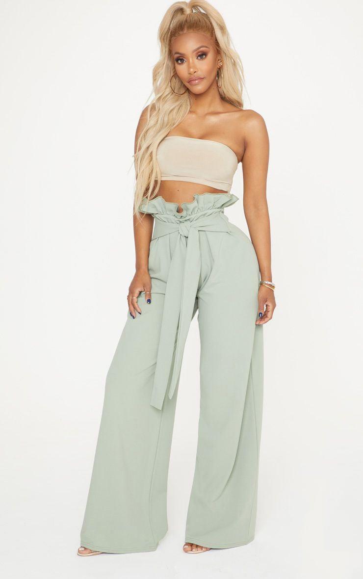Shape Sage Green High Waist Paperbag Wide Leg Trousers 1
