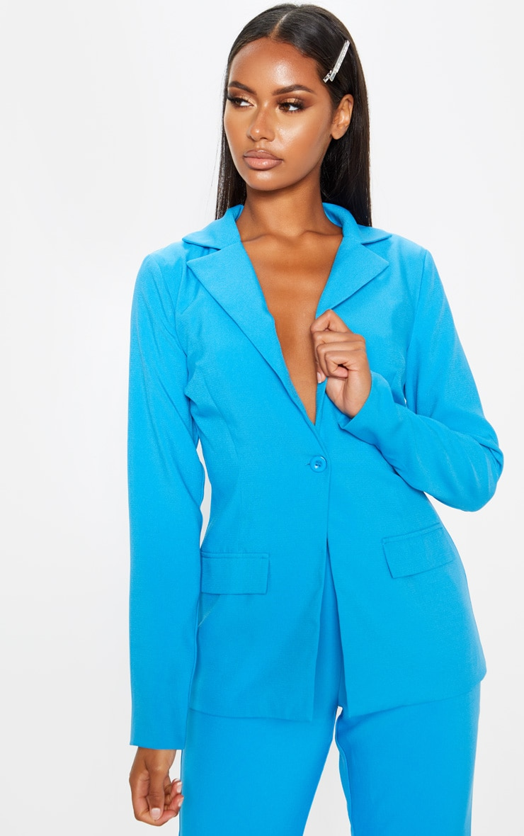 Blue Fitted Suit Blazer