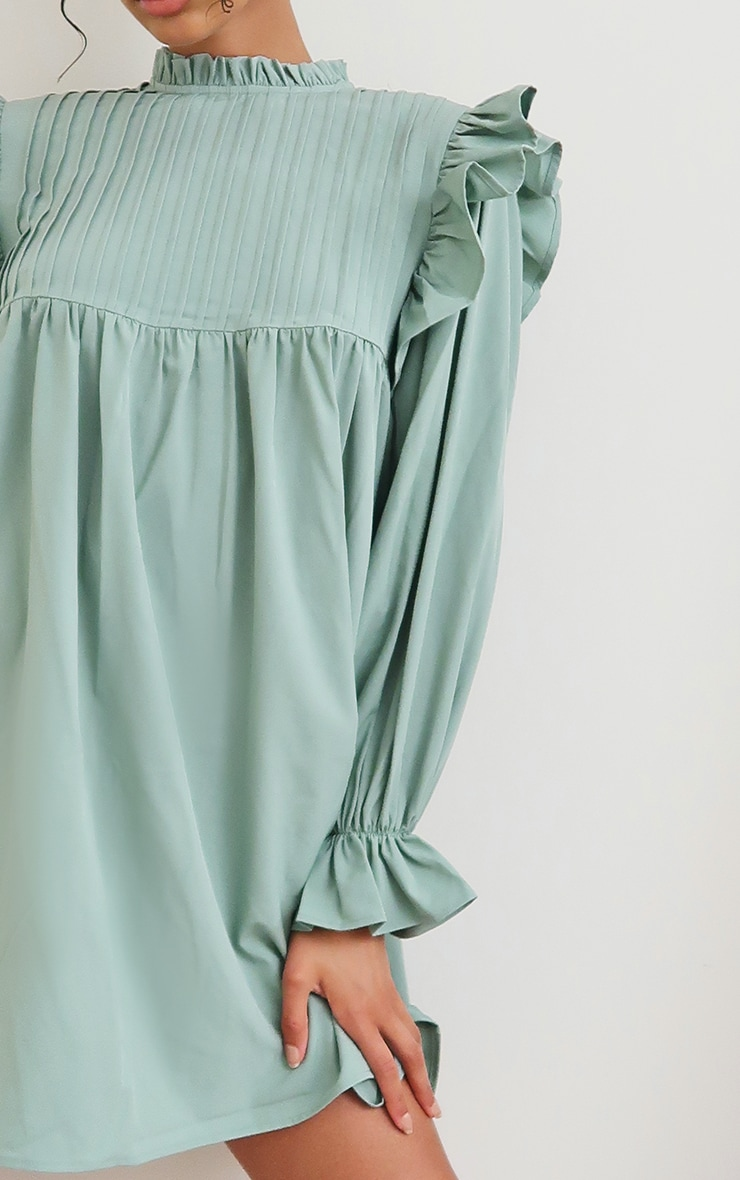 Sage Green Ruffle Binding Detail Shirt Dress 4