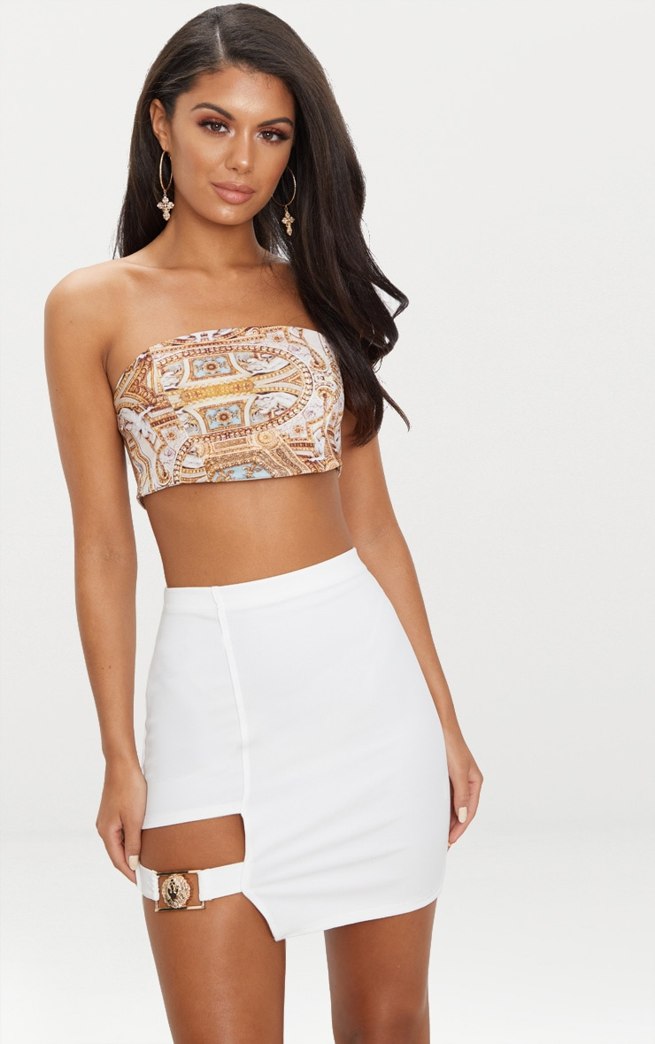 White Lion Head Buckle Detail Mini Skirt  1