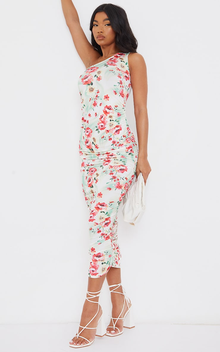Multi Floral Print Slinky Ruched Midaxi Dress 3