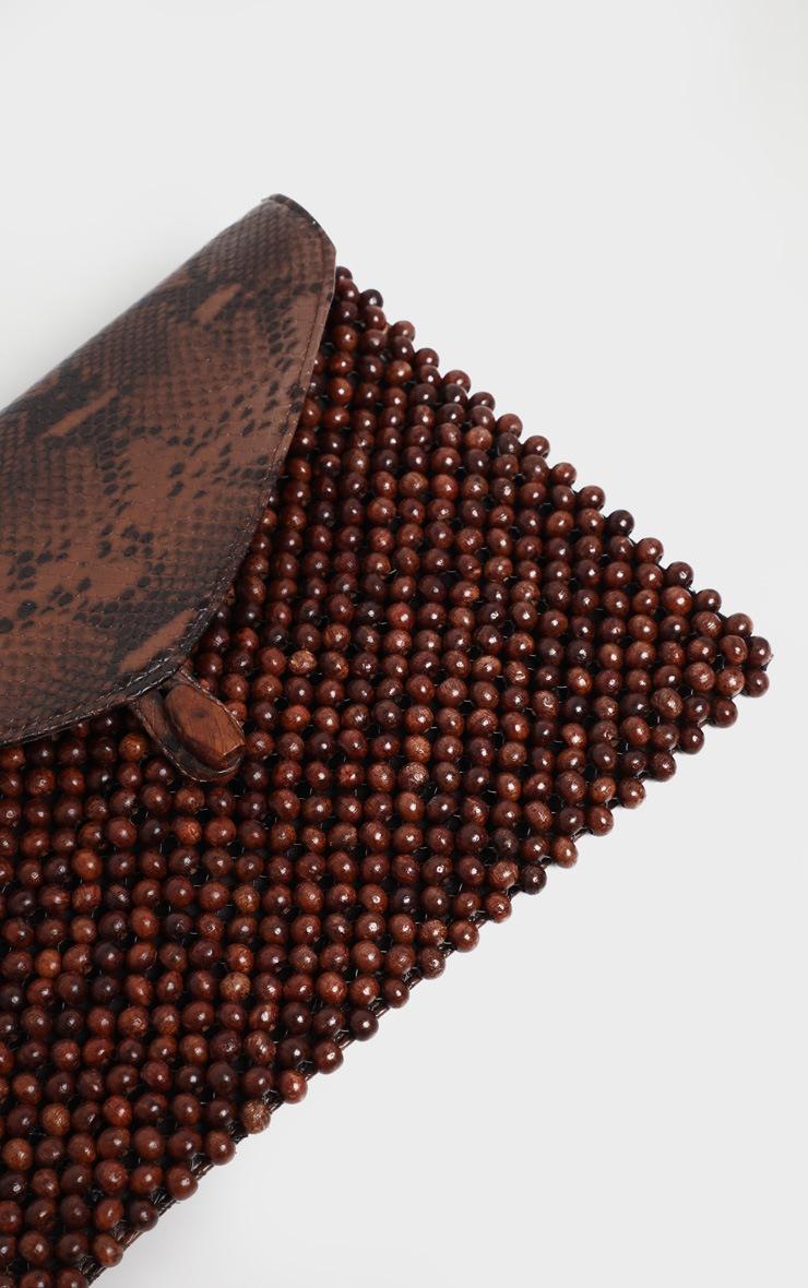 Sac pochette marron imprimé serpent à perles 3