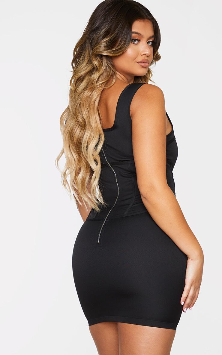 Black Woven Corset Lace Up Detail Sleeveless Bodycon Dress 2