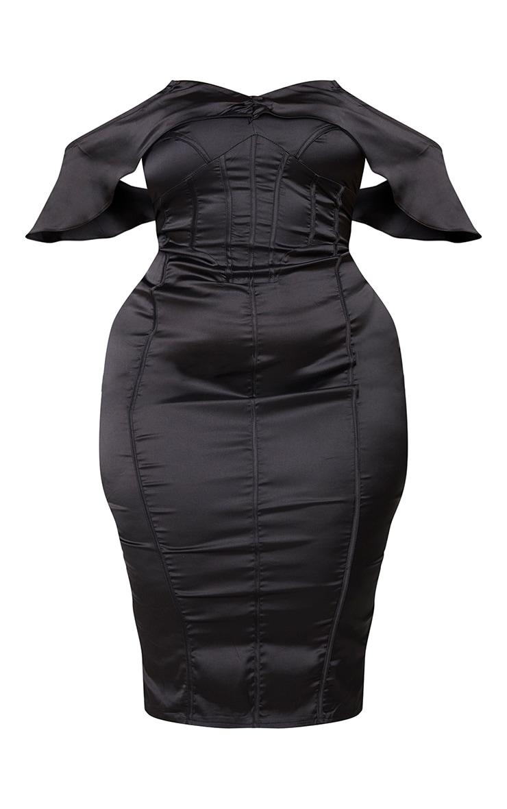Plus Black Satin Corset Detail Bardot Midi Dress 5