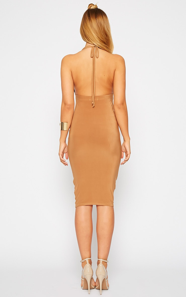 Lucienne Camel Plunge Ruched Front Dress 2