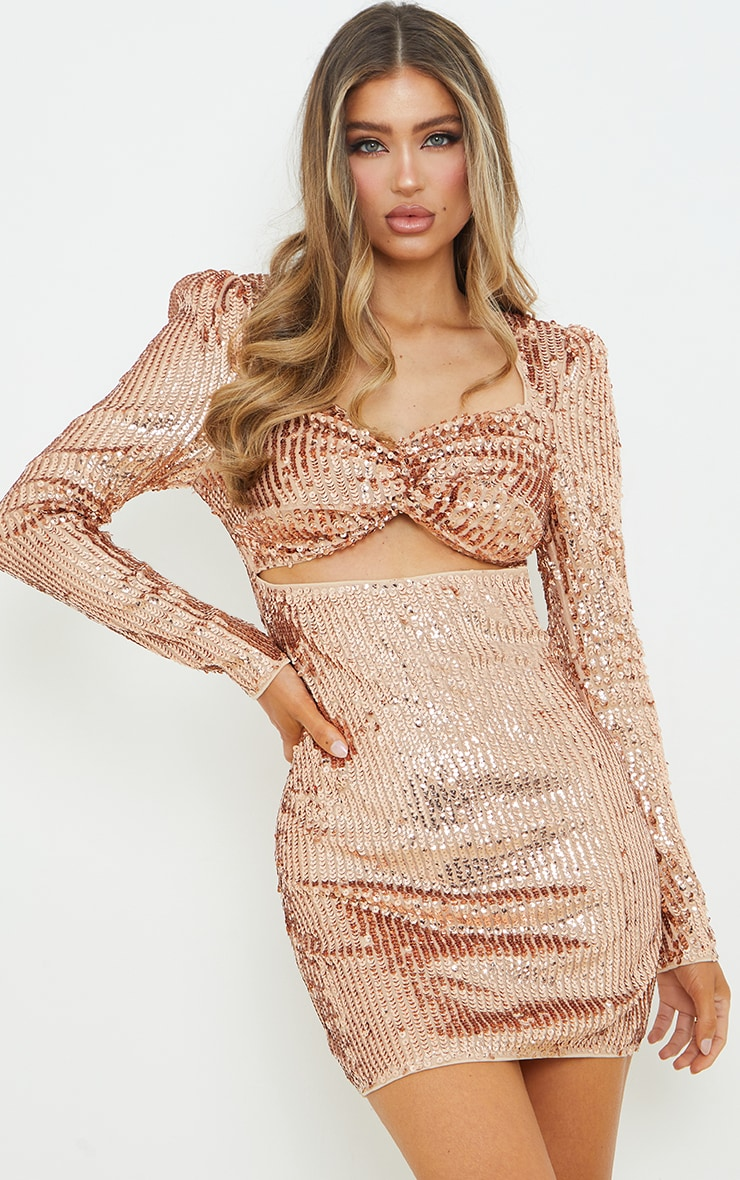 Rose Gold Sequin Twist Front Long Sleeve Bodycon Dress 1