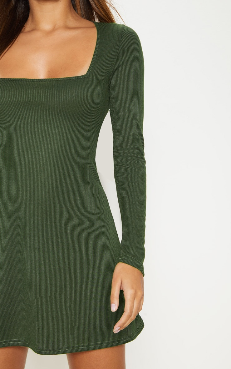 Khaki Ribbed Square Neck Long Sleeve Shift Dress 5