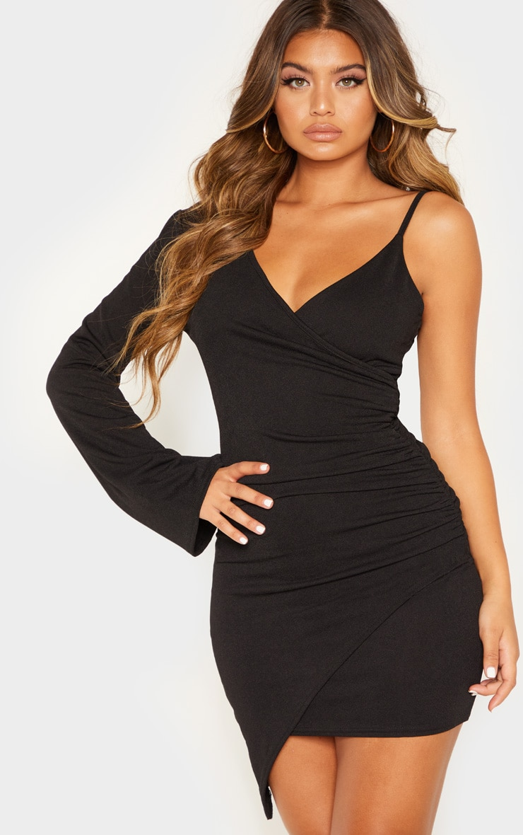 Black Ruched Side Asymmetric Hem Bell Sleeve Bodycon Dress