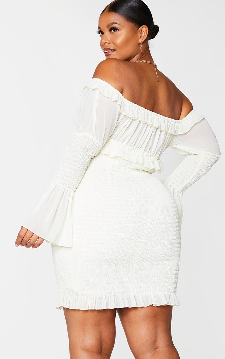 Plus Cream Chiffon Shirred Bodycon Dress 2