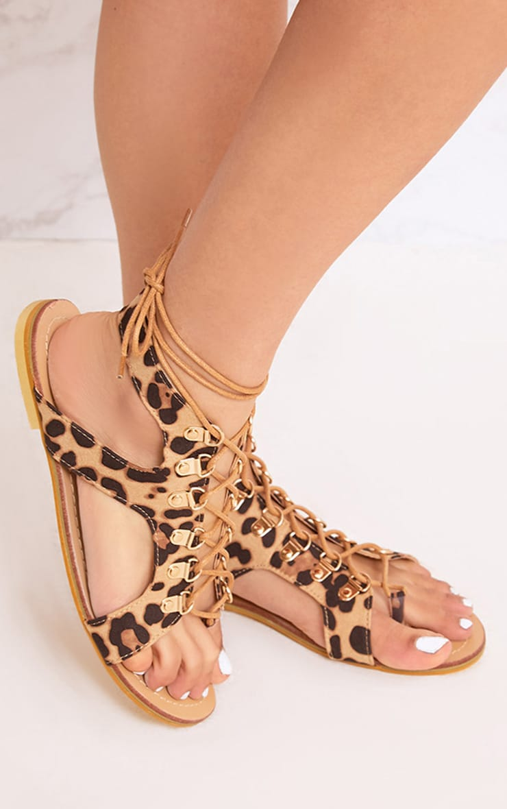 Nerina Animal Print Lace Up Gladiator Sandals 1