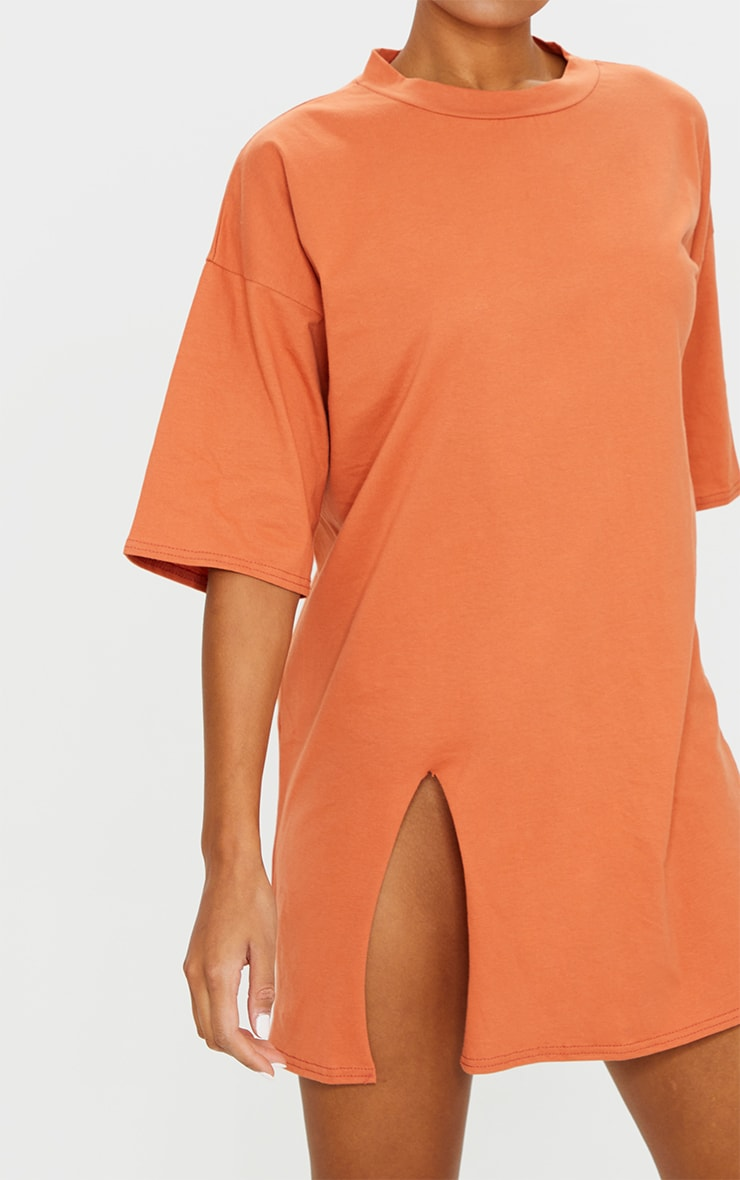 Rust Split Oversized Boyfriend T Shirt Dress 4