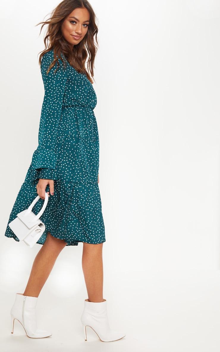 Emerald Green Polka Dot Layered Frill Detail Midi Tea Dress 4