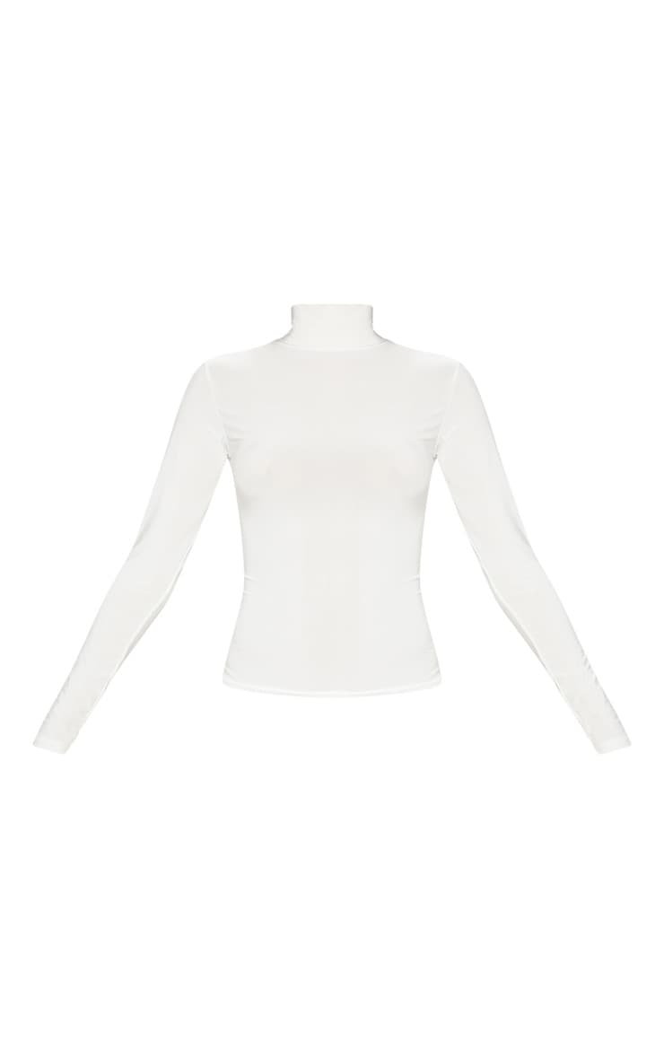 Cream Long Sleeve Slinky Roll Neck Top 3