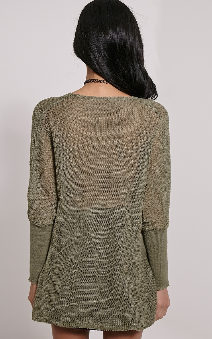 Lynix Khaki Twist Front Knitted Top 2