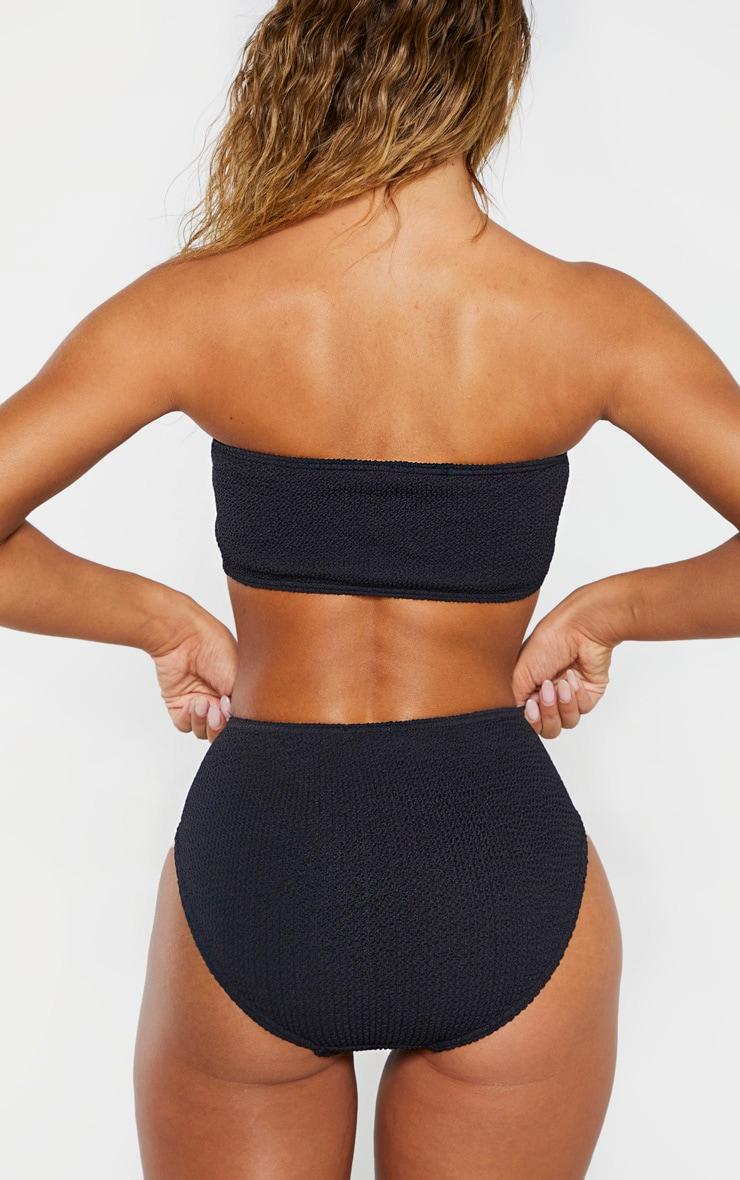 Bas de bikini noir froncé à taille haute 2