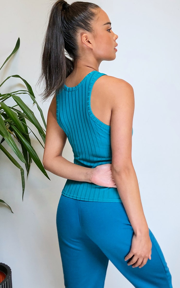 Teal Recycled Rib Racer Neck Top 2