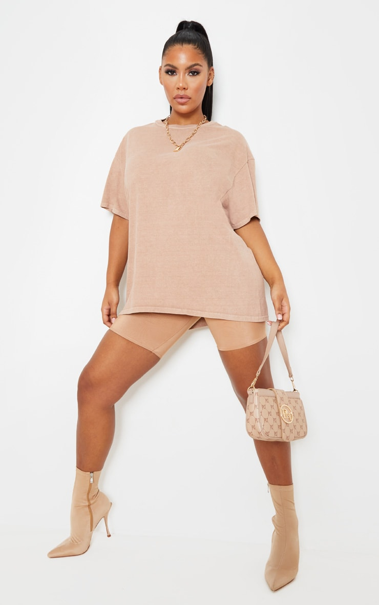 Taupe Washed Oversized T Shirt 4