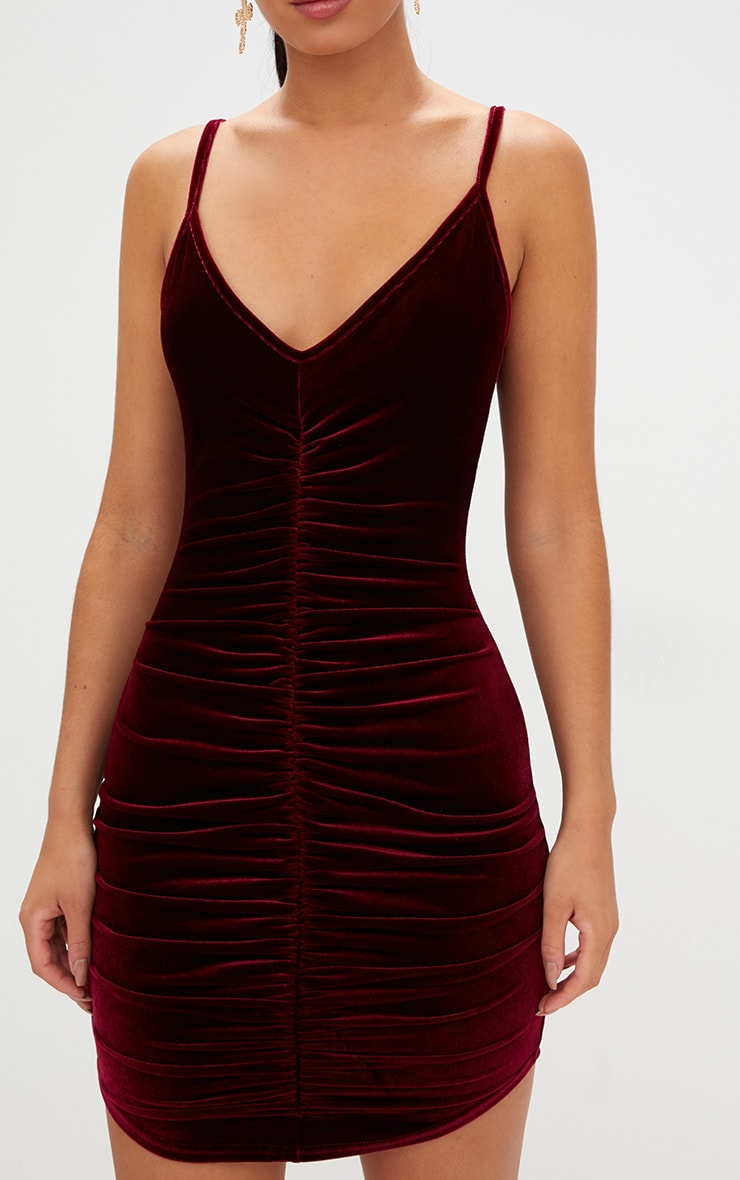 Burgundy Velvet Strappy Ruched Plunge Bodycon Dress 5