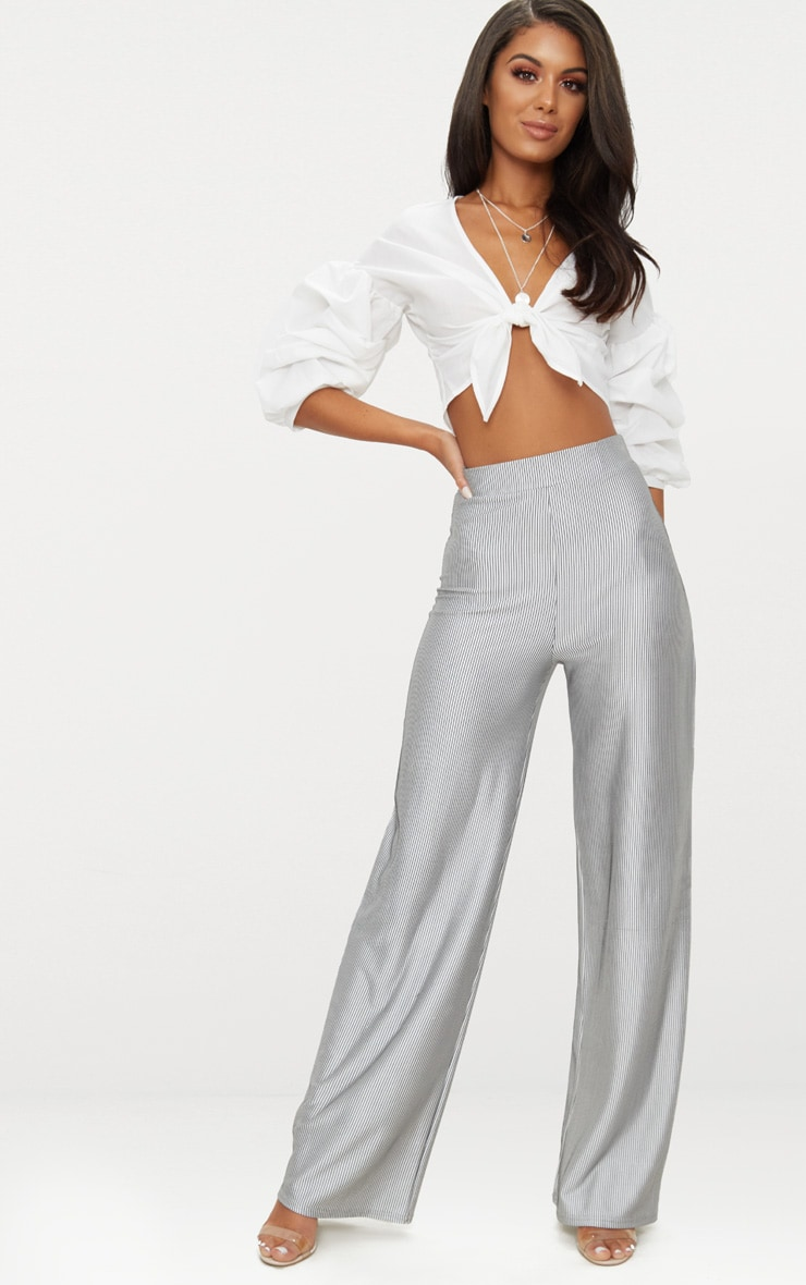 Silver Shimmer Stripe Wide Leg Trouser 1
