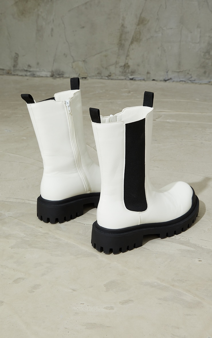 White Rubber Toe Calf High Chelsea Boots 3